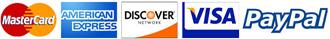 American Express, Discover, Visa Mastercard, PayPal